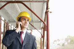 Architect with mobile phone Royalty Free Stock Photos