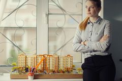 Architect with model  residential building Royalty Free Stock Images