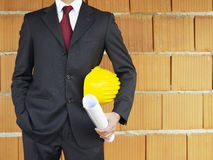 Architect near red wall Stock Image