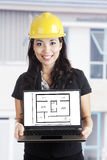 Architect with new house design royalty free stock photos