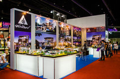 Architect 2015. NONTHABURI - MAY 3 : People and booths in exhibition design of The Architect Thai at Architect 2015 on May 3, 2015 in Nonthaburi, Thailand Royalty Free Stock Photo