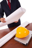 Architect at the office. Businessman architect at his office desk Royalty Free Stock Photos