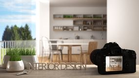 Architect photographer designer desktop concept, camera on wooden work desk with screen showing interior design project, blurred. Scene in the background vector illustration