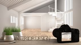 Architect photographer designer desktop concept, camera on wooden work desk with screen showing interior design project, blurred. Scene background, modern empty royalty free illustration