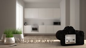 Architect photographer designer desktop concept, camera on wooden work desk with screen showing interior design project, blurred. Scene in the background stock illustration