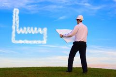 Architect with Plan and Cloud Plant Stock Image