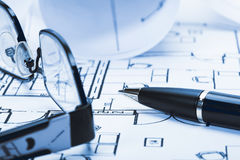 Architect plan and glasses Royalty Free Stock Photo