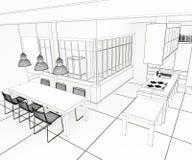 Architect plan impressive kitchen Royalty Free Stock Images