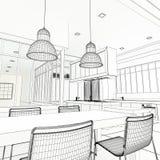 Architect plan impressive kitchen Stock Photography
