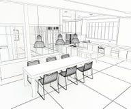 Architect plan impressive kitchen Royalty Free Stock Image