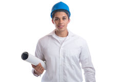 Architect with plan occupation job isolated Stock Photo