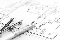 Architect plan and tools Royalty Free Stock Photography