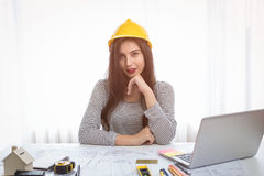 Architect or planner working on drawings for construction stock photo