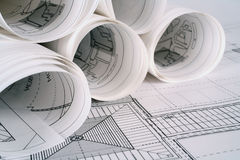 Architect plans Stock Image