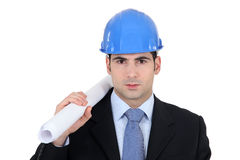 Architect with plans Royalty Free Stock Photos