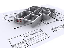 Architect plans. New house design on architect plans Royalty Free Stock Image