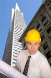 Architect with plans. Set against San Francisco skyline Royalty Free Stock Photo