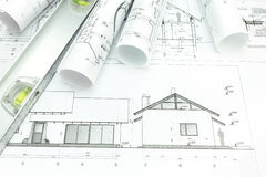 Architect plans Stock Photo