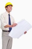 Architect with plans in his hands Royalty Free Stock Photos