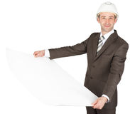 Architect with plans in his hands against Royalty Free Stock Photography