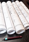 Architect plans and project blueprints Royalty Free Stock Photo