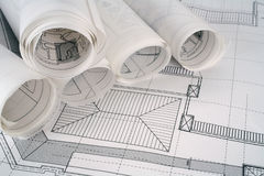Architect plans series. Architect plans and rolls used in construction.More in portfolio Stock Photography