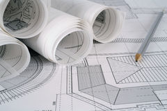Architect plans series Stock Photos