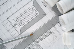 Architect plans series. Architect plans and rolls used in construction.More in portfolio Royalty Free Stock Photography