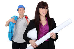 Architect and plumber Stock Photo