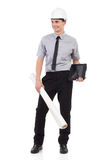 Architect posing with a digital tablet. Royalty Free Stock Image