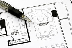 An architect prepares the floorplan Stock Photo