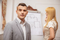 Architect presenting a new project Stock Image