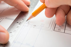 Architect in process. Close view of architect in work royalty free stock photos