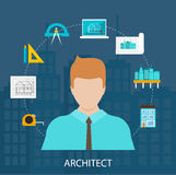 Architect profession icons set Royalty Free Stock Photos