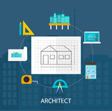 Architect profession icons set Stock Photos