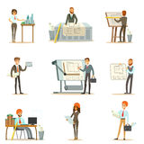 Architect Profession Set Of Vector Illustrations With Architects Designing Projects And Blueprints For Building Royalty Free Stock Image