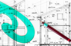 Architect project drawing blueprint Royalty Free Stock Photography