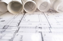 Architect project drawing Royalty Free Stock Photo