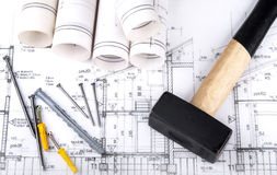 Architect project drawing blueprint Royalty Free Stock Images