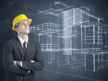 Architect and project of modern buildings Stock Photo