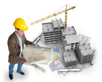 Architect and project. An architect supervising a construction project Stock Photos