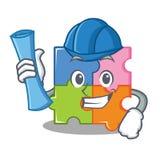 Architect puzzle character cartoon style Stock Photo