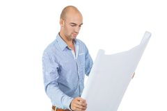 Architect reading a blueprint Royalty Free Stock Photo