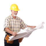 Architect reading blueprints Stock Images