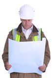 Architect reading plans. Architect wearing site safety gear reading some plans Royalty Free Stock Photography