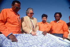 An architect reviewing the building plans Royalty Free Stock Photography