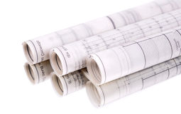 Architect roles and plans. White background, a reflection Stock Image