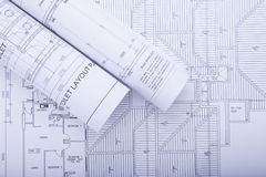 Free Architect Rolls And Plans Stock Image - 48470781