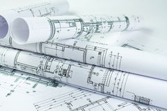 Architect rolls. And house plans Royalty Free Stock Image