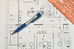Architect rolls and plans Stock Image